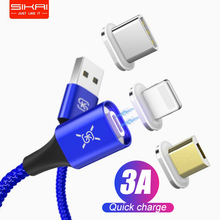 SIKAI 3A Magnetic Charging Cable Micro USB C Cable iPhone Magnet Android Data Sync Quick Charge Phone Cable Car Charger
