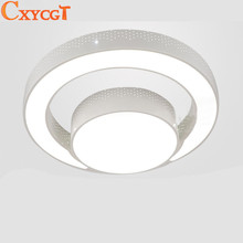 Modern LED Ceiling Light fixture Flush mounted Acrylic Ring Light lustres Ceiling Lighting 2 rings LED lamp
