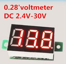 10 pcs 0.28' 2 wire  DC 2.4V-30V  Mini Digital Voltmeter Voltage Tester volt  Meter LED Screen   Electronic Parts Accessories
