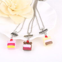 Best Friends Forever BFF Resin Multicolor Cake Pendant Bead Chain Necklace,3Pcs/set lead nickel cadmium free kids jewelry