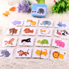 Baby enlightenment cognition Chinese and English puzzle/jigsaw CARDS learning montessori educational wooden toys for children(China)
