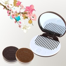1PC Dark Brown Cute Chocolate Cookie Shaped Design Makeup Mirror with Comb Lady Women Makeup Tool Pocket Mirror Home Office Use