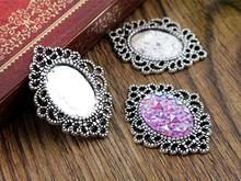 6pcs 13x18mm Inner Size Antique Silver Simple Style Cameo Cabochon Base Setting Charms Pendant necklace findings (D4-25)(China)