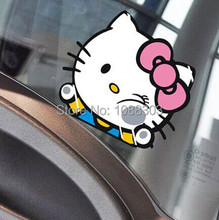lovely pink cat cartoon cute hello kitty clamping the window funny kitty hit the car window decorative sticker