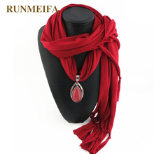 RUNMEIFA Brand New style Arrival Charms Scarf jewelry Pendant Scarf Jewelry Polyester Scarves Necklace Scarf Free Shipping(China)