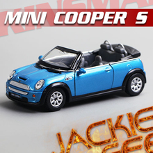 Gift for baby 1pc 1:28 12.5cm delicate KINSMART 1947 mini cooper s roadster simulation model alloy car home decoration toy