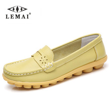 New Women Real Leather Shoes Moccasins Mother Loafers Soft Leisure Flats Female Driving Casual Footwear Size 35-44 In 4 Colors