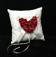 Red Rose Love Heart Satin Wedding Ring Pillow Wedding Ceremony Party Stuff Accessories JZ37(China)