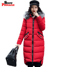 SNOW PINNACLE 2017 winter jacket Parkas Women New Cotton Padded Parkas Coat Warm Thicken Long Hooded Girls Big Fur Jacket M-3XL(China)