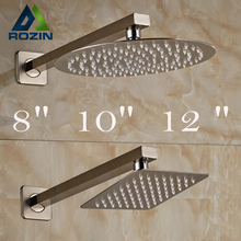 "Brushed Nickel Wall Mounted Rainfall Shower Head Bathroom 8/10/12"" Ultrathin Style Shower Head with Shower Arm"