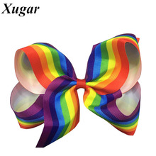 1 Pc 6'' New Design Fashion Handmade Boutique Rainbow Striped Sweet Hair Bow With Alligator Clip For Kids Girls Hair Accessories(China)