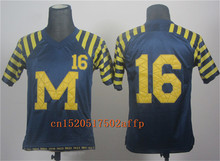 Nike 2017 Wolverines Denard Robinson 16 Patch Cowboys Classic College Football Limited Boxing Jersey(China)
