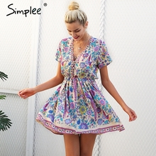 Buy Simplee Print v neck button boho short dress Women casual beach pink mini dresses Vintage flower loose dress vestidos de festa for $16.99 in AliExpress store