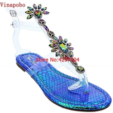 0af0adea2ad5d7 Woman Flip-flop Sandals Transparent Women Shoes Rhinestones Chains Thong  Gladiator Flat Sandals Crystal Chaussure