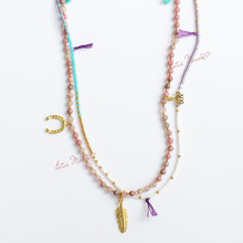 Rhodocroshite double strand necklace with feather love and horseshoe Sterling Silver Gold Vermeil Charms seed beads