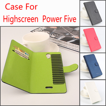 For Highscreen Power Five Phone Case Fashion Pure Color Folio Flip Premium PU Leather Wallet Case Cover Cash/Card Slots