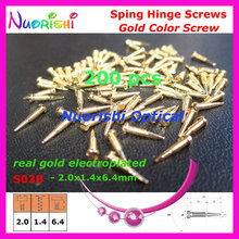 500pcs or 200pcs Gold Electroplating Sunglasses Eyeglasses Eyewear Glasses Spring Hinge Screws S03B 2.0x1.4x64mm small package
