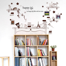 Winnie Frame Bookshelf Stickers Artistic Backdrop Living Room Bedroom Sofa Children's room Vinyl Home decor Wall Sticker SK9031