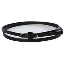 Fashion Lady Girl Skinny Waist Belt Leather Narrow Waistband Women Solid Color Floor Paint Leather Round No Pin Buckle Thin