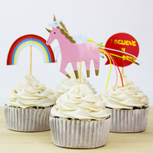 New High Quality 72pcs Unicorns Horse Theme Party Supplies Cartoon Cupcake Toppers Pick Kid Birthday Party Decorations(China)