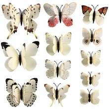 12 Pcs/Lot PVC 3D Magnet Butterfly Wall Stickers Butterflies Decors for Wedding Party Home Kitchen Fridge Decoration D0029-2(China)