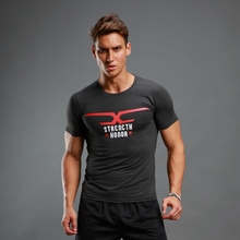 New Men Compression Tights Tops Running T Shirts Basketball Jersey Stretch Letter Print Fitness Perspiration Breathable T-shirt(China)