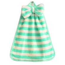 PHFU 1Pcs Stripe Hand Towel Soft Plush Fabric Cartoon Animal Hanging Wipe Bathing Towel Green White