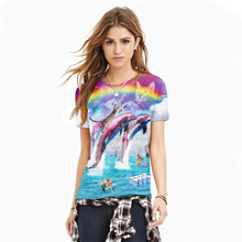 2017 Fashion Women Brand New Dolphins 3d T-Shirt Rainbow Animal Laser All Over Print Colorful Women T shirt Wholesales