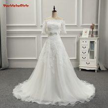 2017 New arrival Custom Made Lace with appliques A Line Wedding Dresses (two different style,sleeveless,add small coat,also half(China)