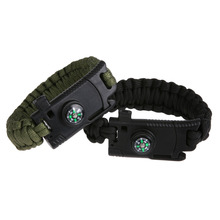 2PCS/Set New Design 5-in-1 compass bracelet Multifunction escape survival hand rope whistle life-saving Emergency bracelet ISP