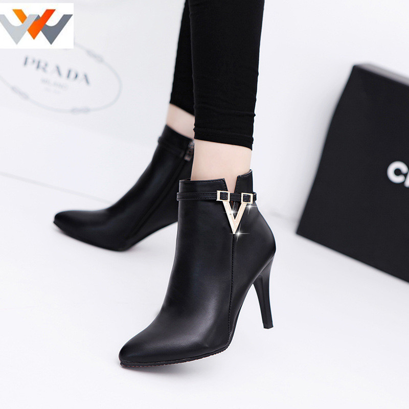 2017 autumn winter new red high-heeled boots women shoes Duantong side zipper pointed boots Martin boots fine with matte<br><br>Aliexpress