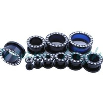 Black Acrylic Tunnels with crystal Clear Gem Stone Blackline Multi Jewelled Flesh Tunnel Ear Plugs Ear Expander