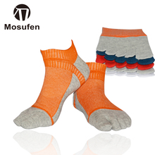 MOSUFEN 5Pairs/lot Men Socks Boys Cotton Finger Breathable Five Toe Socks Pure Sock Ideal For Five 5 Finger Toe Shoes Unisex Hot(China)