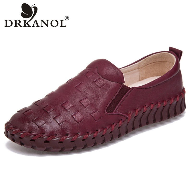 DRKANOL 2018 Spring Flats Slip On Loafers Handmade Genuine Leather Women Flat Shoes Comfortable Casual Women Shoes Size 35-41<br>