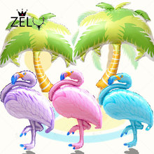 ZLJQ Flamingo Coconut Tree Balloon Colorful Hawaii Party Ballons Happy Birthday Party Decoration Balls Inflatable Foil Balloon