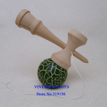 Black/Neon Green Crackle Kendama Traditional Assembly No Rivet 18CM Kendama, NC crackle paint Tama, Made from Durable Beech Wood