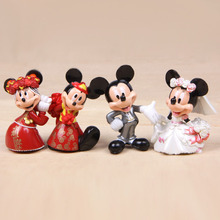 4pcs Wedding Mickey Minnie Fairy Garden Decor Miniatures Terrarium Bonsai Resin Craft Mini Jardin Home Accessories Cake Toppers
