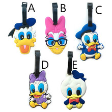 Fashion Donald Duck Suitcase Luggage Tags Daisy Duck ID Address Holder Baggage Label Silica Gel Identify Travel Accessories