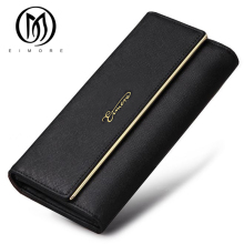 EIMORE Leather Wallet Women Purse Cowhide Leather asp Fashion Dollar Price Long Women Wallets Luxury Brand Long Card Holder