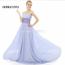 HONGFUYU Real Photo Chiffon Beaded Strapless A Line Ombre Lavender Prom Dresses Long 2016 Ballkleider Backless Court Train 5914