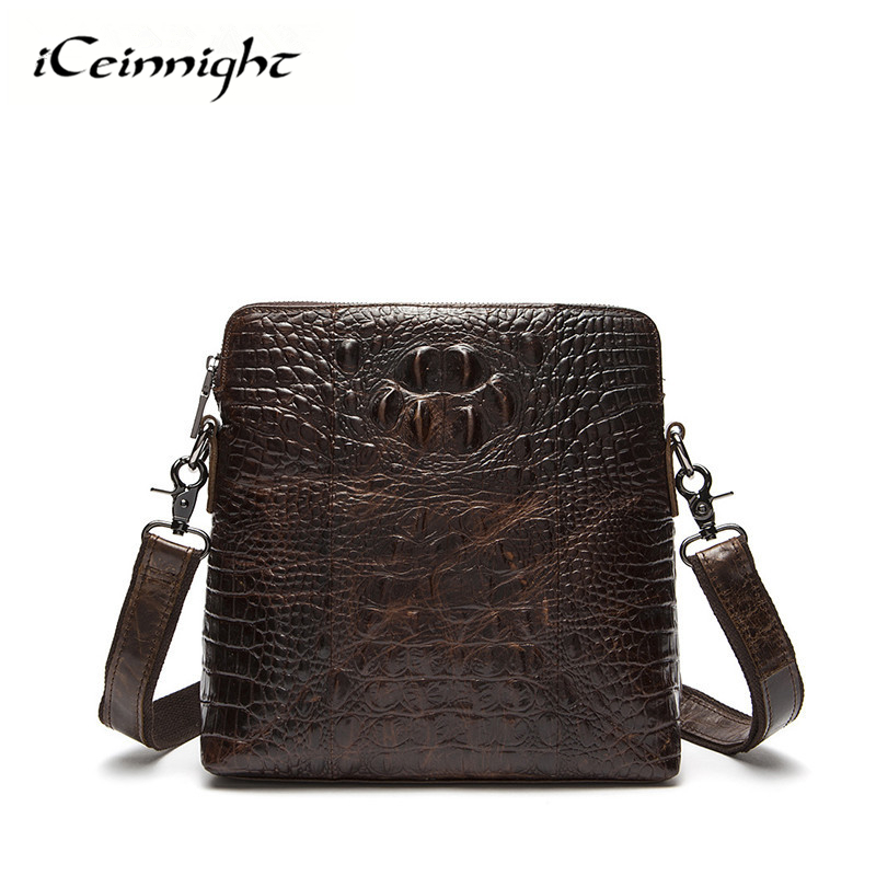 iCeinnioght Luxury Brand Genuine Leather Crocodile Mens Messenger Bag High Quality Leather Shoulder Bag Fashion Crossbody Bag<br>
