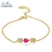 LAMOON Ruby Jewelry Bracelet 925 sterling-silver-jewelry 100% Red Gems Classic Accessories Charm Bracelets for Women HI037(China)