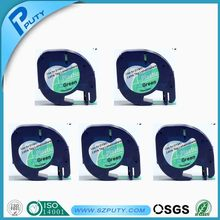 5PK Best sales compatible  DYMO letratag plastic tape cassette for label printer 12mm*4m Black on Green