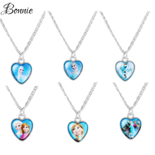 6pc Elsa Girl  Pendant Character Stainless Steel Pendant Chain Necklaces Kids Jewelry Christmas Gift