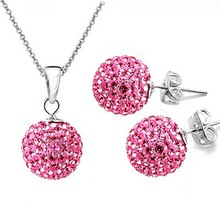 Hot Set of Shamballa jewelry Necklace Pendant Earring Stud 10mm Rose pink bead Crystal stone Clay Ball for women fashion jewelry