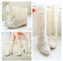 Free shipping spring summer boots women boots sweet cool boots knitted cotton lace flat heel high boots big size boots