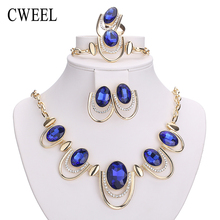 CWEEL New African Jewelry Sets Gold Color White Imitated Blue/Crystal Women Wedding Necklace Bracelet Earring Ring Set