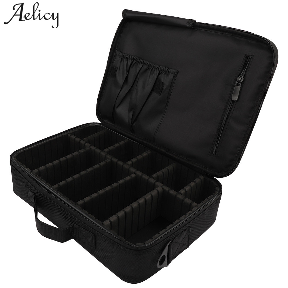 Aelicy Brand Suitcases Multi-storey Large Professional Cosmetic Case PVC Casual Solid Pattern Waterproof Storage Makeup Bag<br>