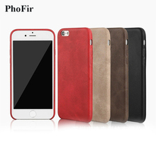 PhoFir Retro Slim Soft PU Leather Case for iphone X 7 6 6S 8 Plus Vintage Business Style back Cover Black Brown Red