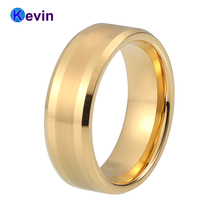 Very Popular Shiny Gold-Color Wedding Ring Tungsten Nice Wedding Band With 6MM And 8MM Available(China)